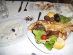 Greek dinner with tzatsiki sauce