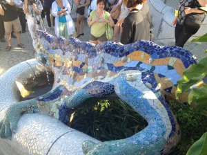 the famous mosaic lizard in Park Guell by Gaudi