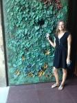 Tiffany in front of the door to La Sagrada Familia, by Gaudi