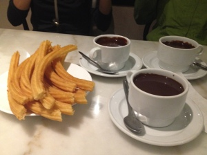Famous chocolate con churros at San Gines
